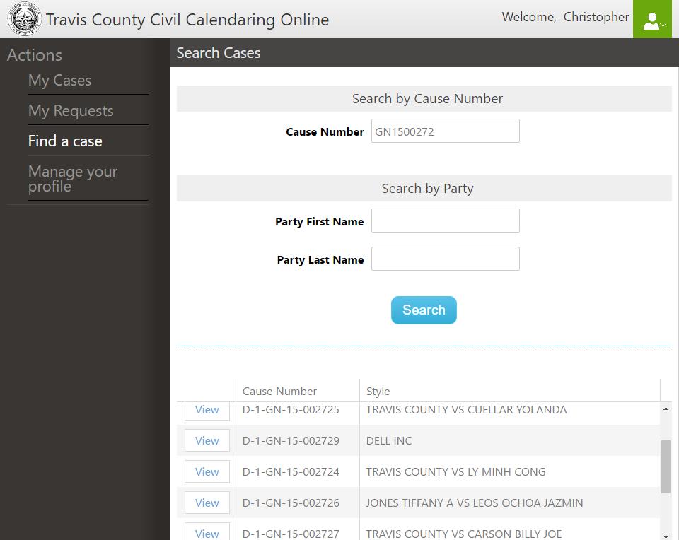 Civil Calendaring Online Application